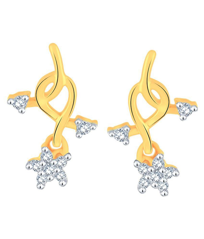 Glitterati By Asmi 18k BIS Hallmarked Yellow Gold Diamond Drop Earrings
