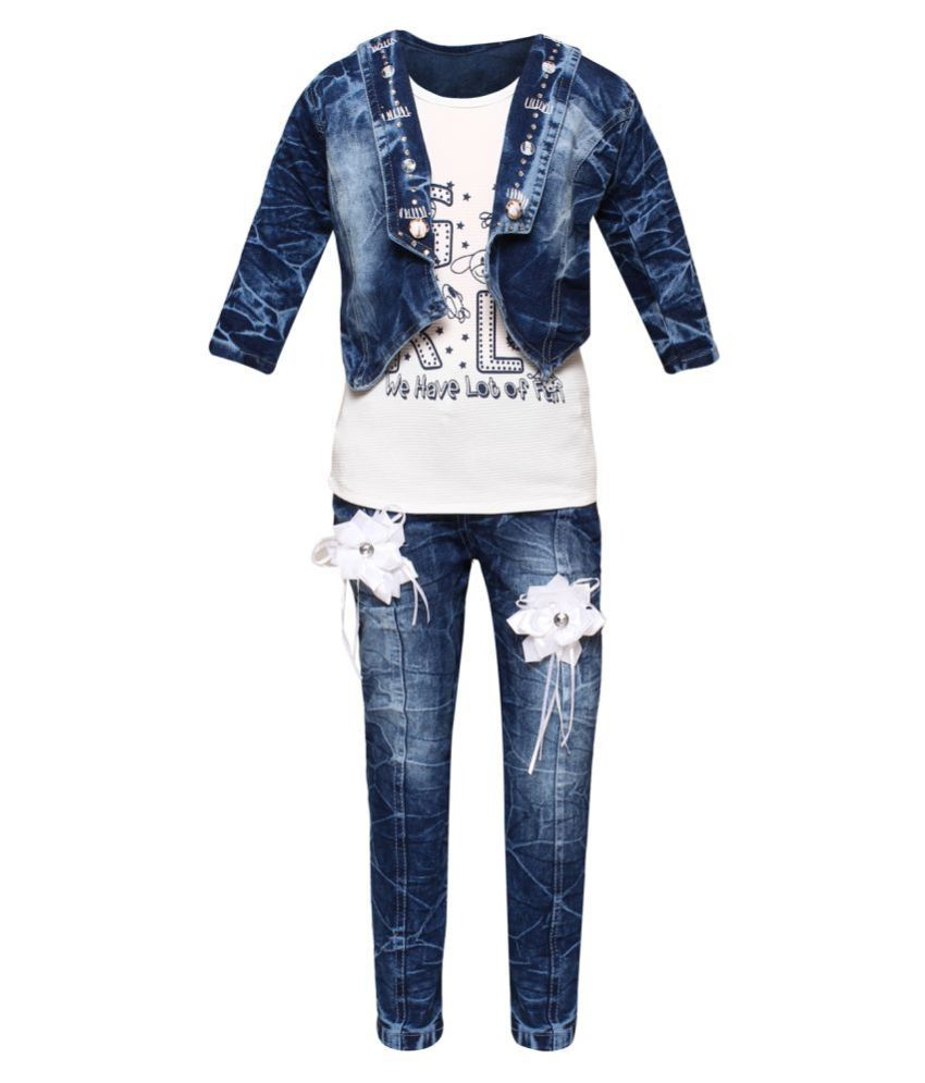Arshia Fashions Girls Party Wear Top Jeans And Jacket Set Buy