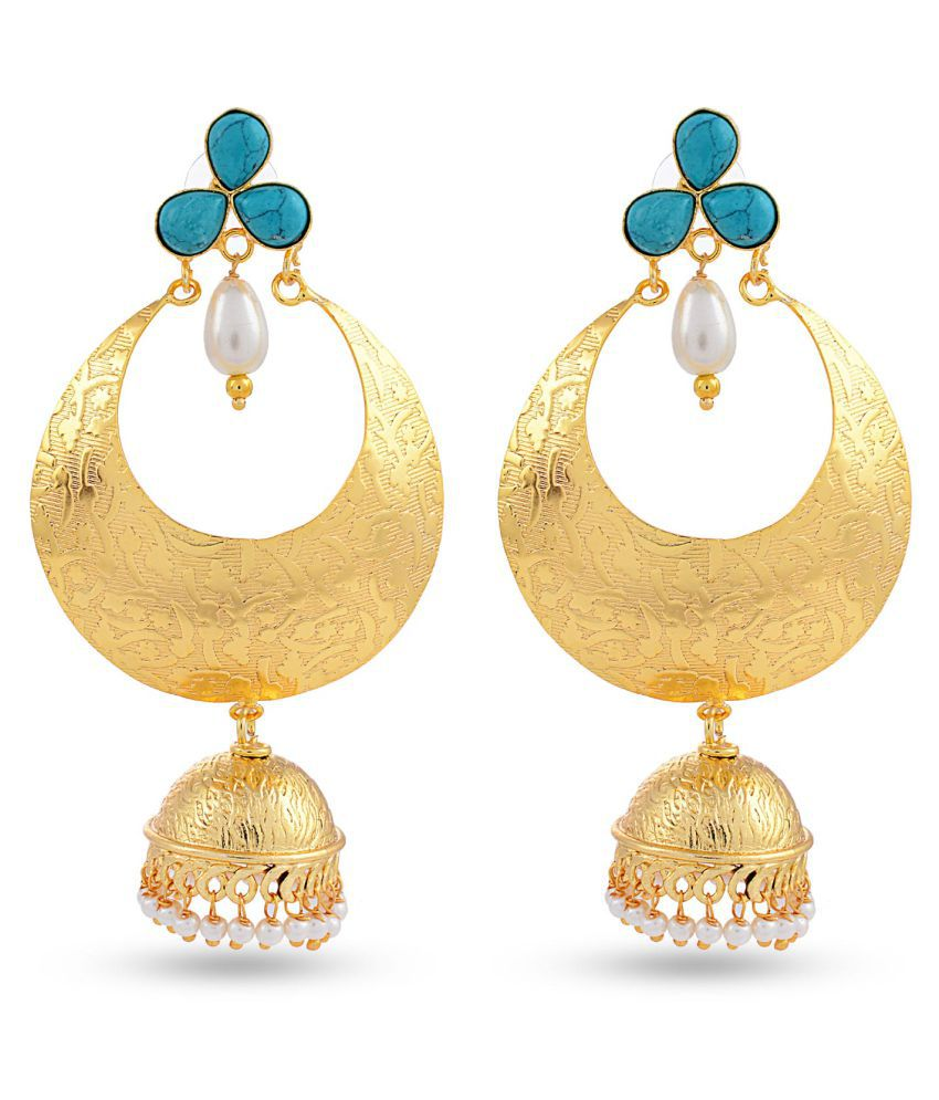 Contemporary Indo Western Colored Stones Desginer Stylish Party Wear Jhumki / Jhumka Earring For Girls / Women