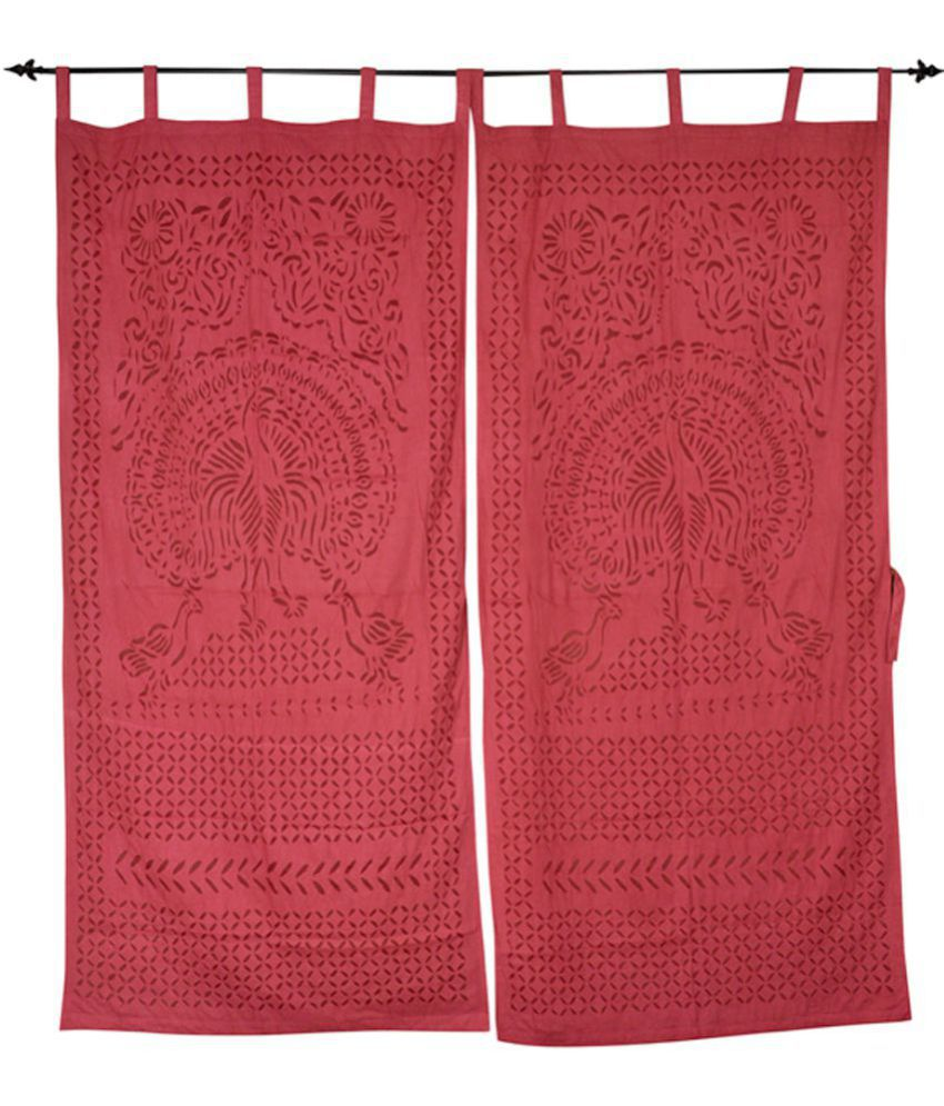 Lal Haveli Set of 2 Door Tab Top Curtains Traditional Maroon