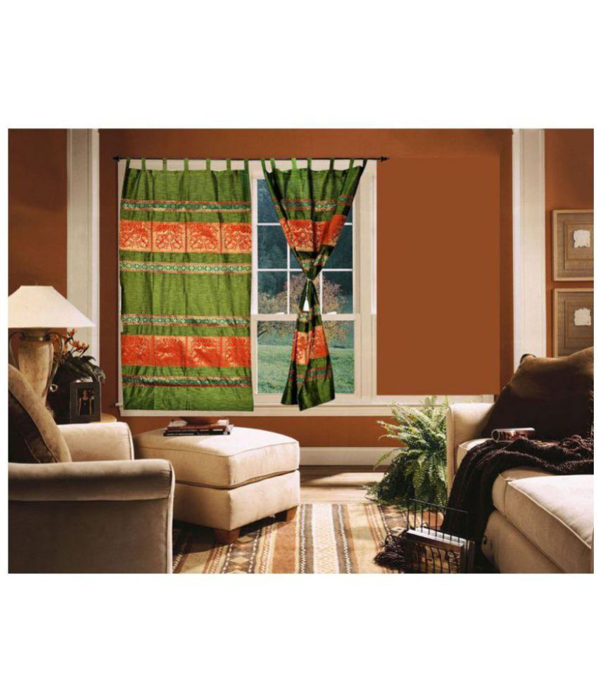 Lal Haveli Set of 2 Door Tab Top Curtains Abstract Green