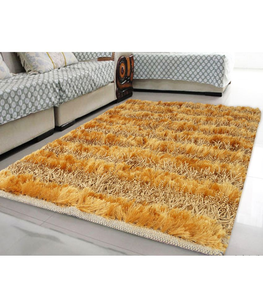 Story@Home Gold Polyester Carpet Stripes 3x5 Ft.