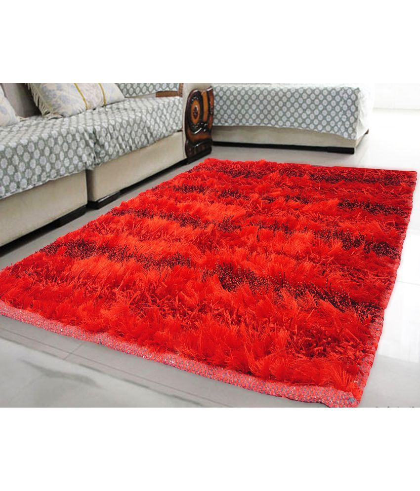 Story@Home Red Polyester Carpet Plain 3x5 Ft.