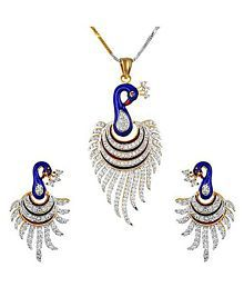 Penny Jewels Antique Simple Enameled Diamond Peacock Non-Precious Simple Pendant With Earrings Set & Chain For Women & Girls
