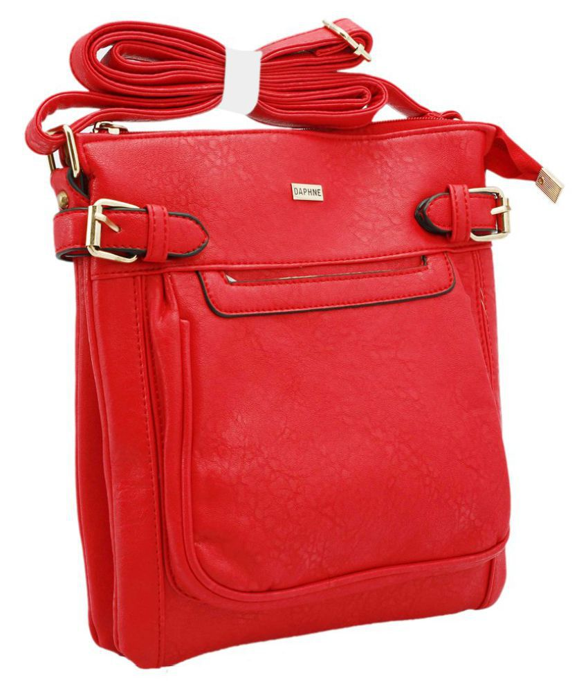 Daphne Red Faux Leather Handheld