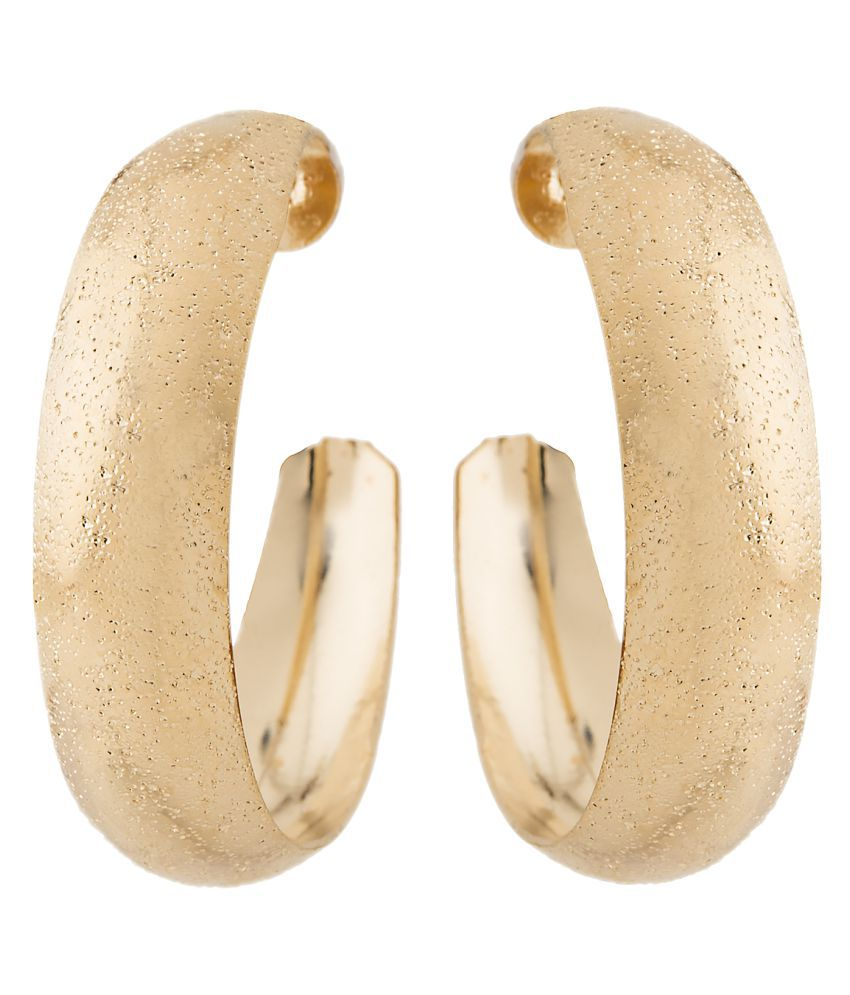 2010KHARIDO Contemporary Gold Colored Alloy Hoop Huggie Earring for Women
