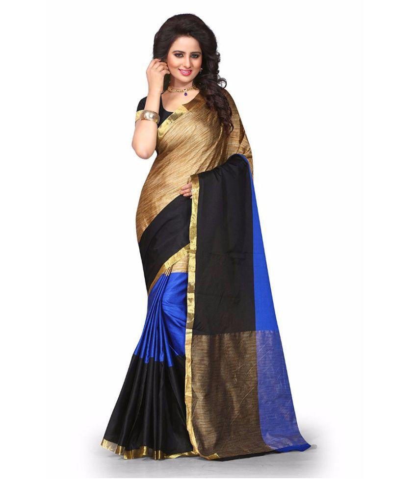 RAJWADI FAB Blue Cotton Silk Saree