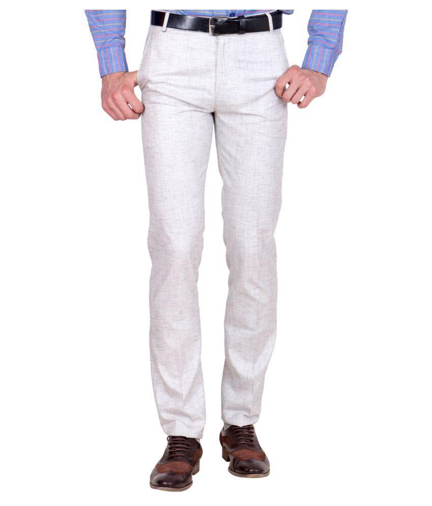 Shaurya-F Brown Regular -Fit Flat Trousers