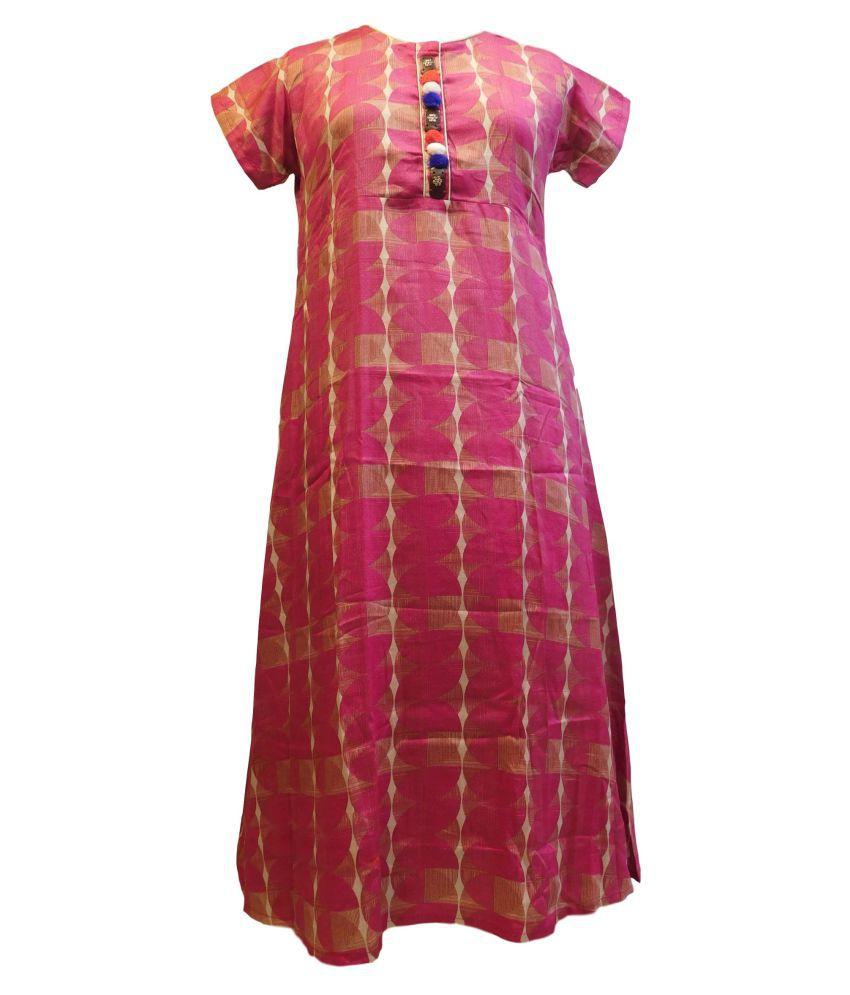 SMSAREE Pink Rayon Straight Kurti