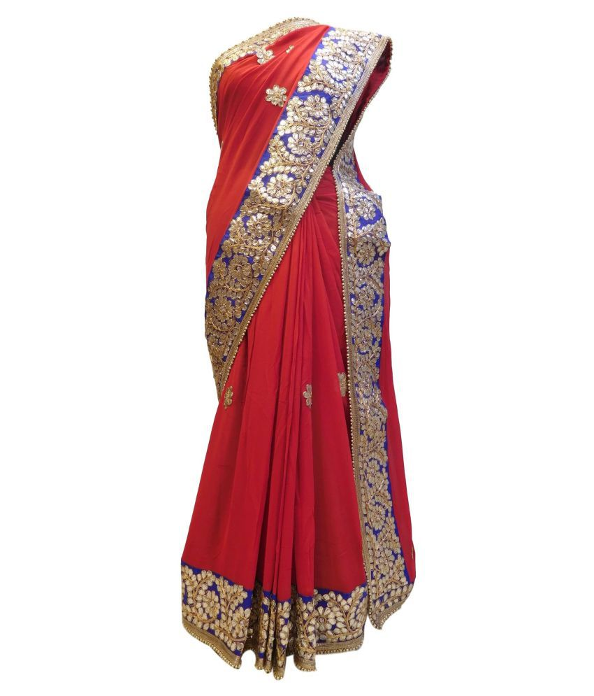 SMSAREE Red Viscose Saree