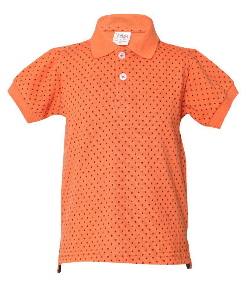 Tales & Stories Printed Orange Tshirt