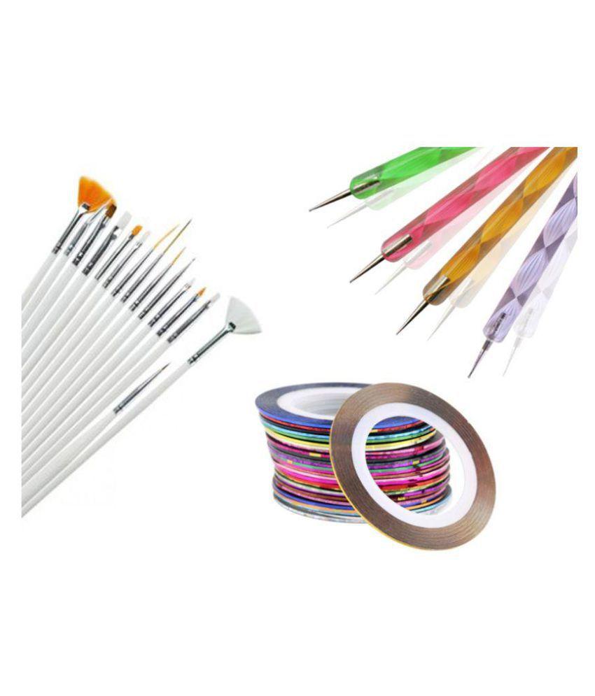 Techdizi Nails 25 gm Set of 15 Nail Art Brushes 5 Dotting Tools 5 ...