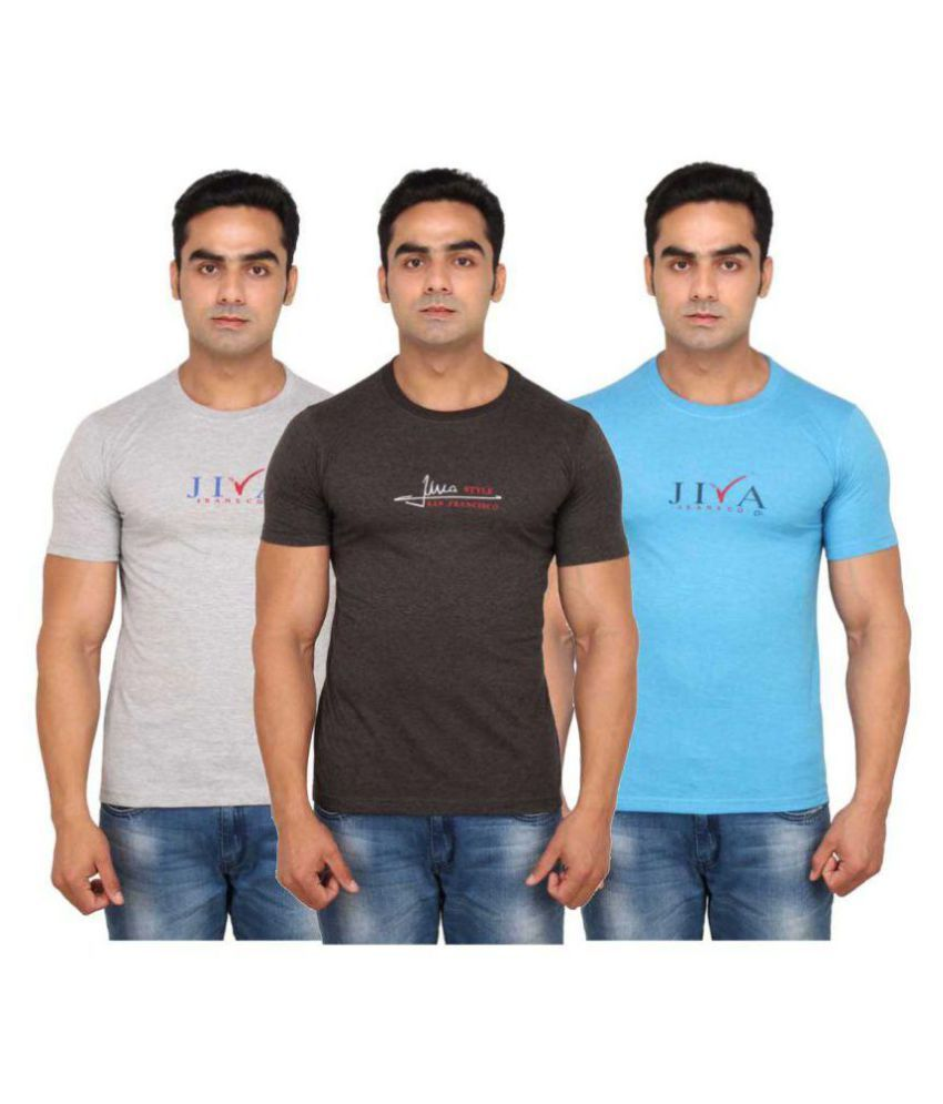 JIVA Multi Round T-Shirt Pack of 3
