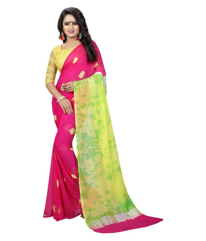 Shivam Synthetics Pink Georgette Saree