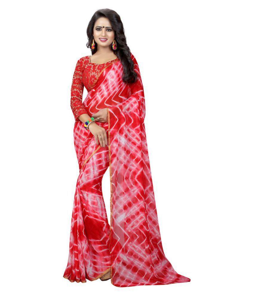 Shivam Synthetics Red Georgette Saree