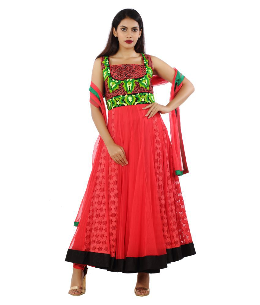 Dressline Red Net Anarkali Stitched Suit