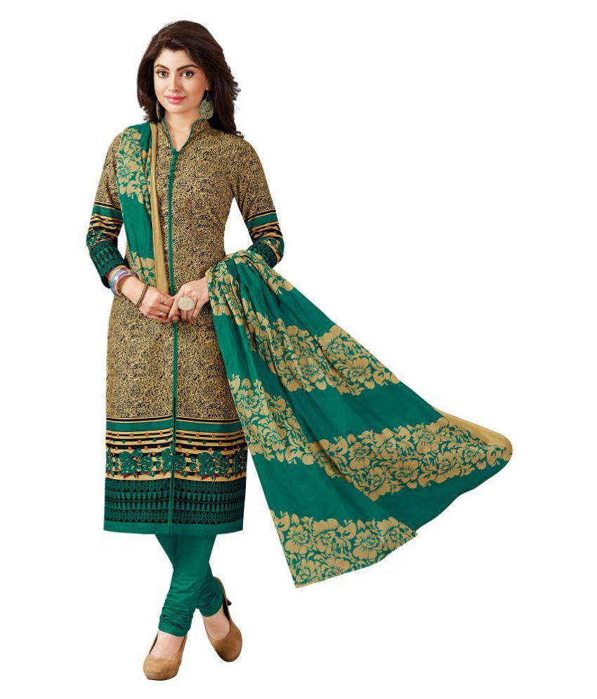 3ae74a98e Baalar Green and Brown Cotton Dress Material - Buy Baalar Green and Brown Cotton  Dress Material Online at Best Prices in India on Snapdeal