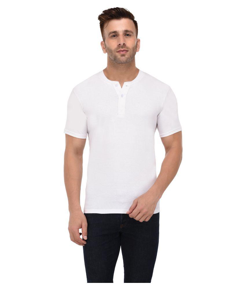 BI FASHION White Henley T-Shirt Pack of 1