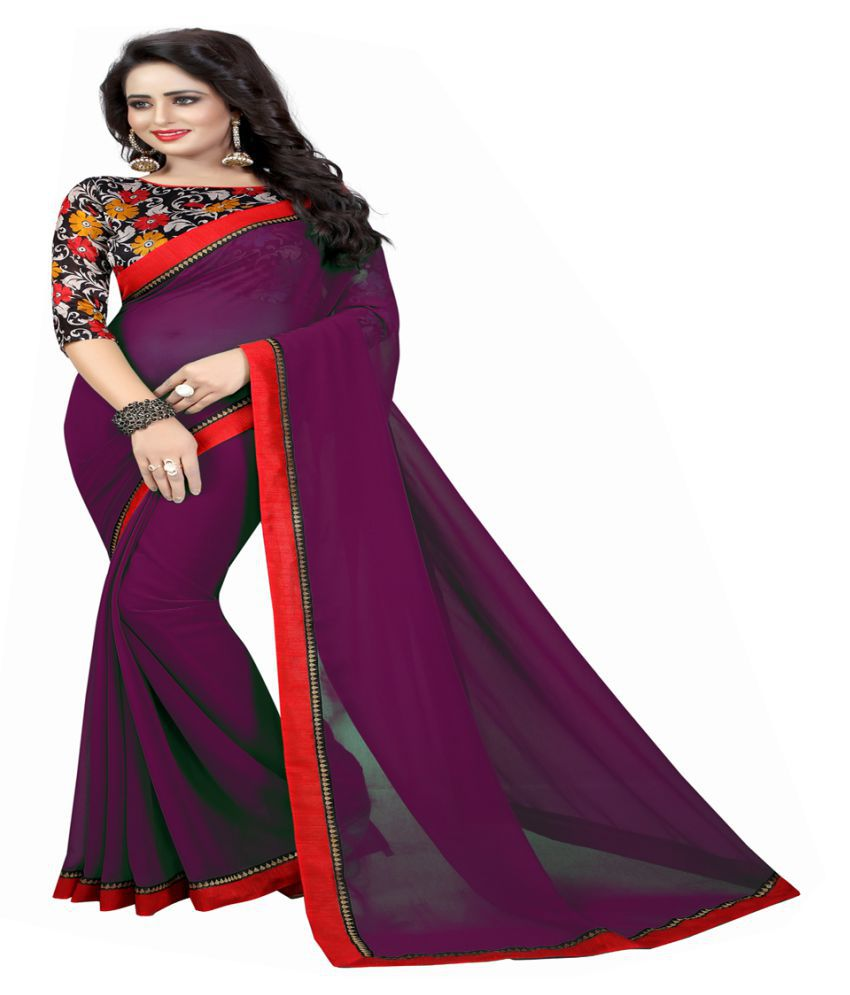 5bba01150b9ffd Radiance Star Purple Georgette Saree - Buy Radiance Star Purple Georgette  Saree Online at Low Price - Snapdeal.com