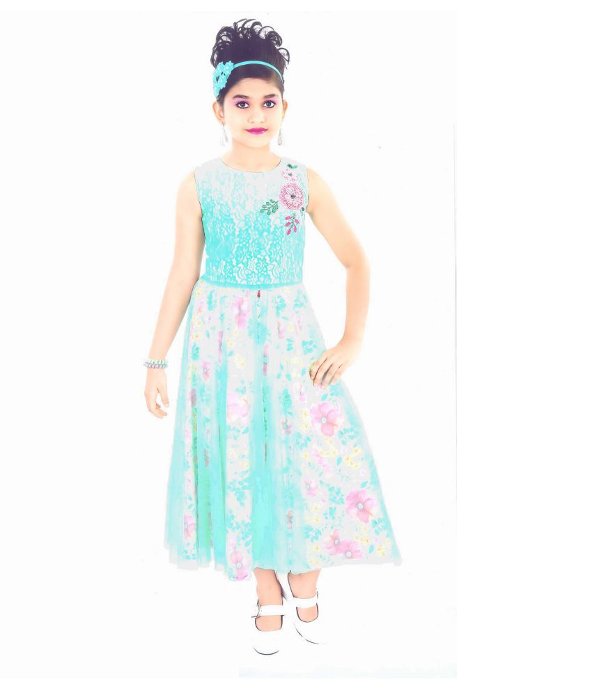 HEY BABY SELF DESIGN SLEEVELESS LONG TOP IN GOWN STYLE WITH SKIRT FOR GIRLS