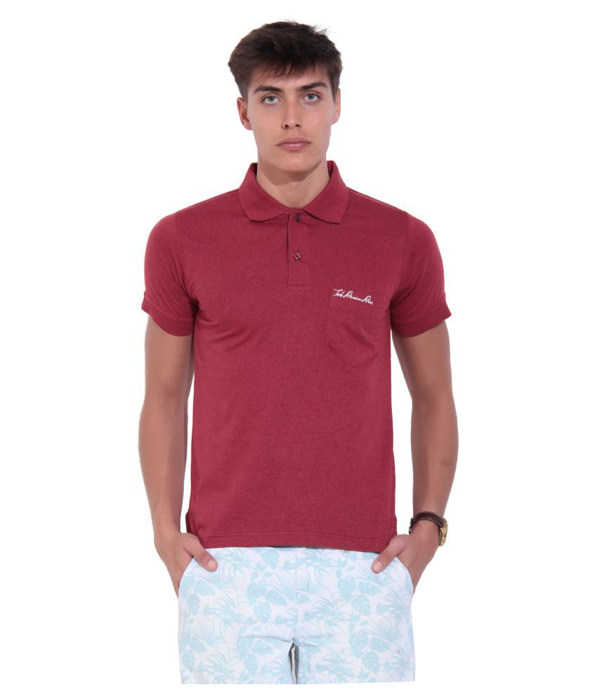 TAB91 Maroon V-Neck T-Shirt