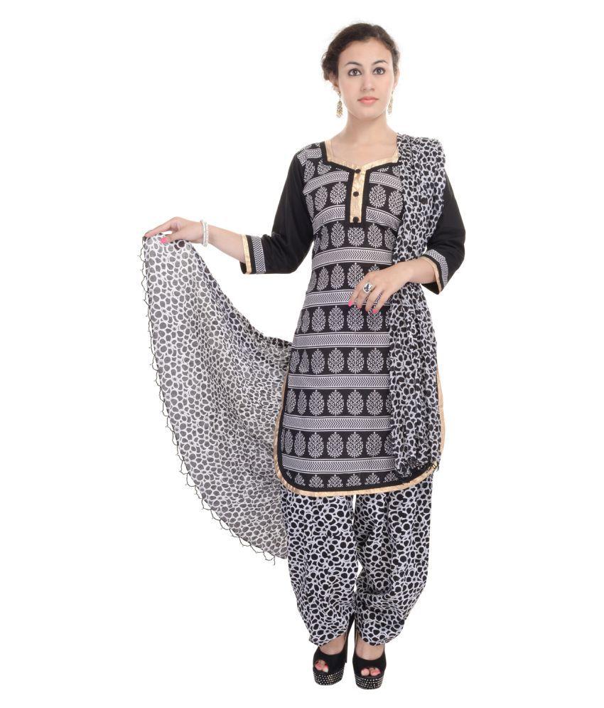 SSK FASHION Black Cotton A-line Stitched Suit