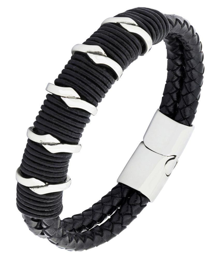 Biker 100% Genuine Handmade Soft Durable Braided Black Leather Stainless Steel Wrist Band Bracelet Men