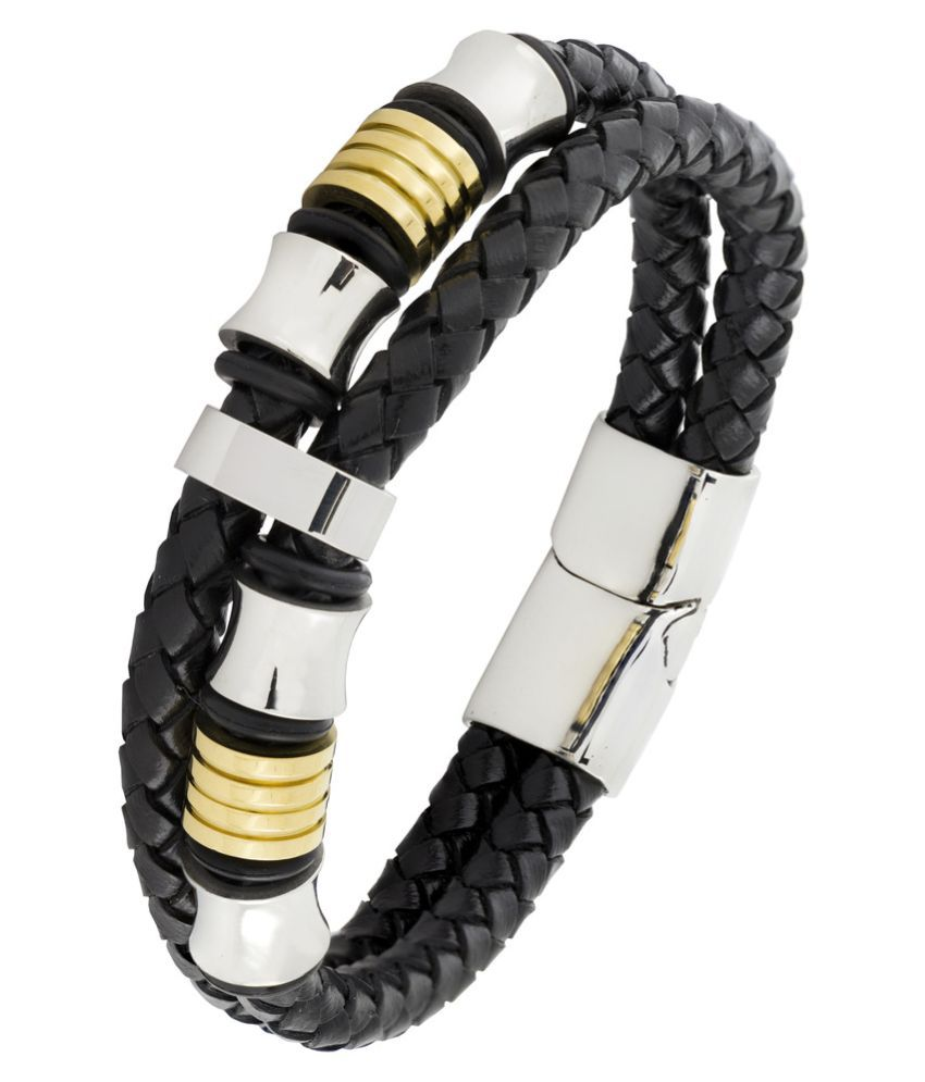 Dual Two Tone High Quality Braided 100% Genuine Leather 316L Stainless Steel Wrist Band Bracelet Men