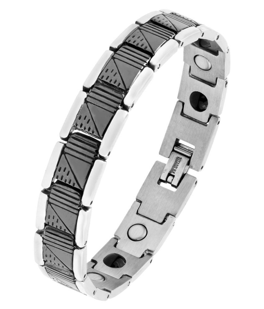 The Jewelbox Geometric 316L Surgical Stainless Steel Black Rhodium Silver Plated Bracelet For Men