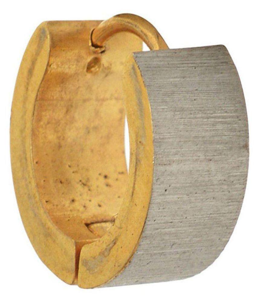 Stainless Steel Gold Mens Studs Hoop Earrings