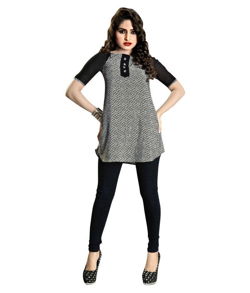 Urban India Black Georgette Shirt style Kurti