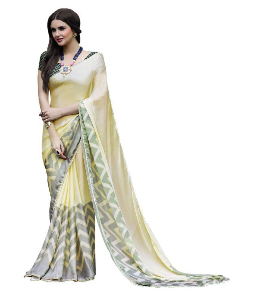 Shaily Retails Grey and Beige Satin Saree