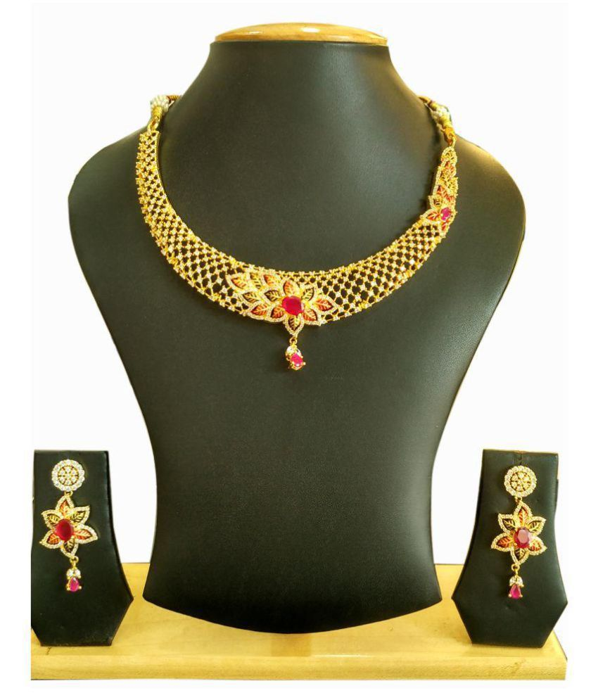 Dasmya Creation Golden Hydro-Floral American Diamond Necklace Set