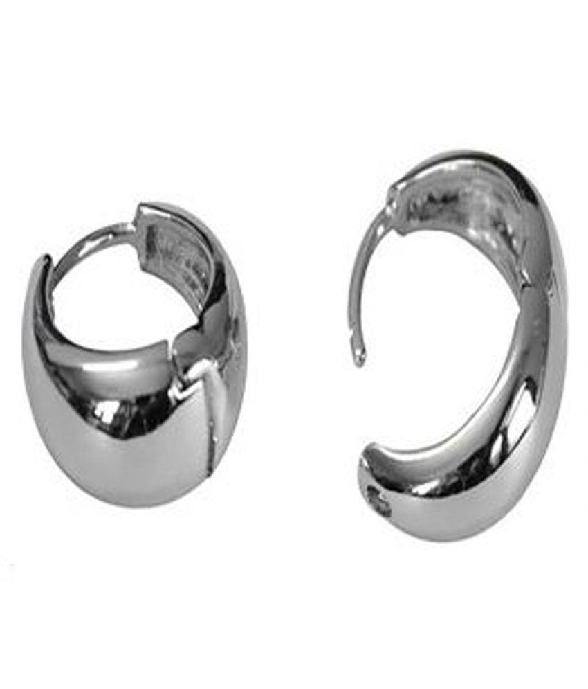 Kaju Bali Hoop Men\'s Pierce Ear Studs Salman Khan Inspired Silver ...