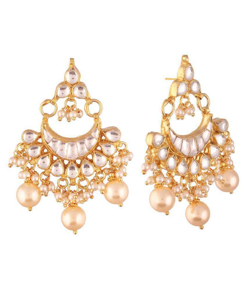 AccessHer Jadau Kundan and pearl Chandbali Gold plated dangle earrings for women