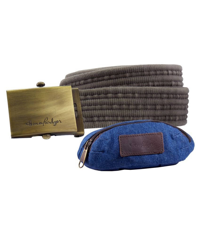 HoneyBadger Gray Canvas Casual Belts