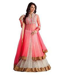 Fashion Vogue Pink Net Anarkali Gown Semi-Stitched Suit