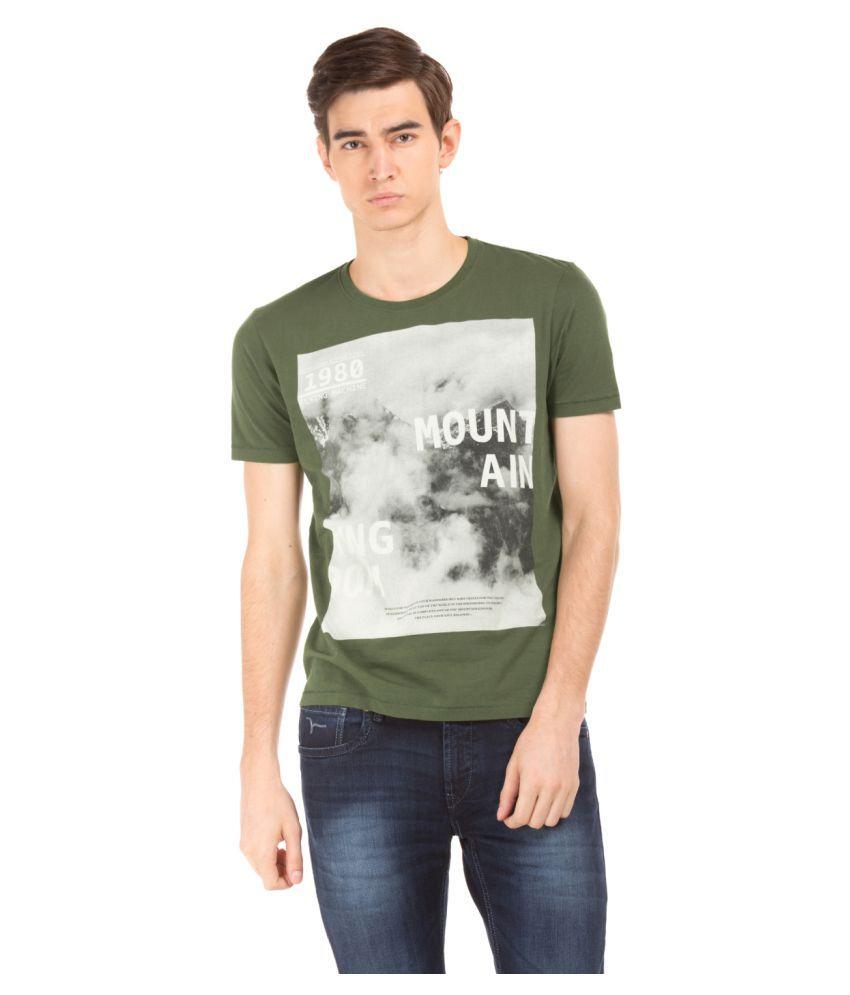 Flying Machine Green Round T-Shirt