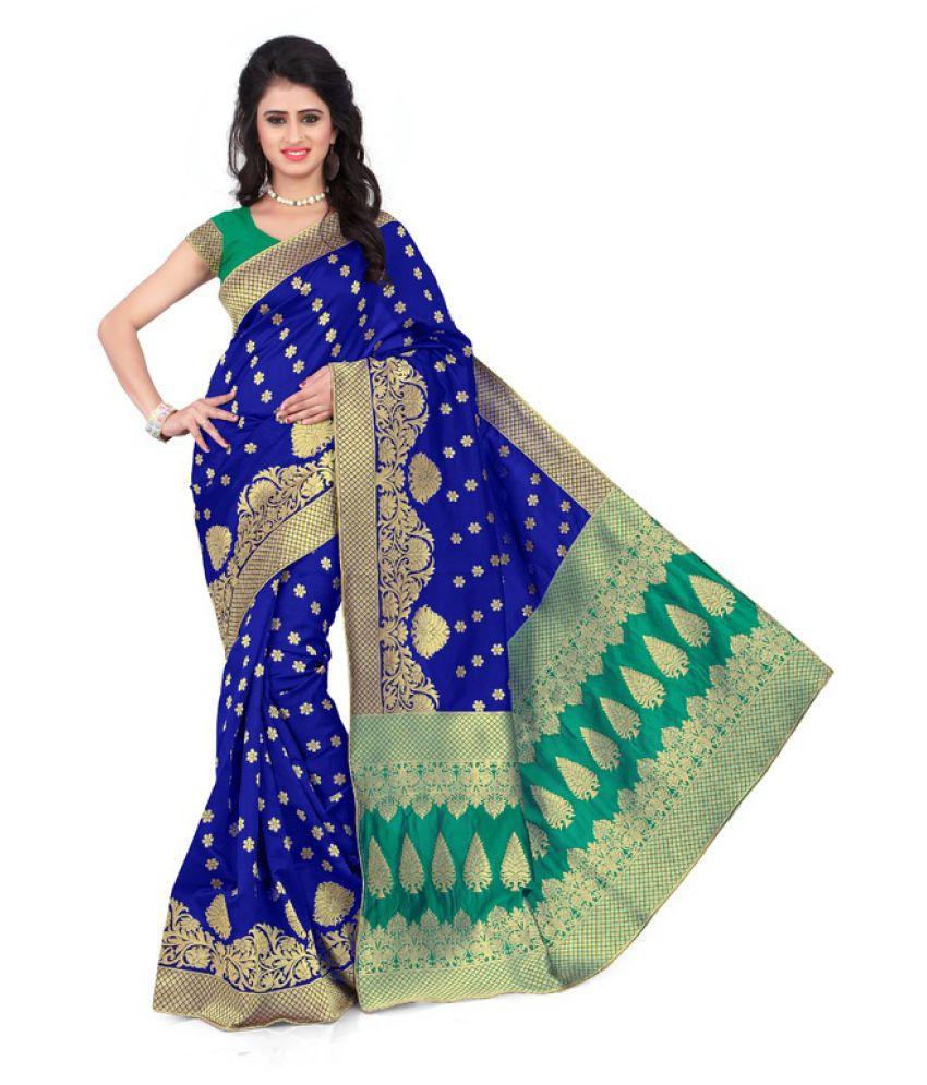 Indian Robe Blue Banarasi Silk Saree