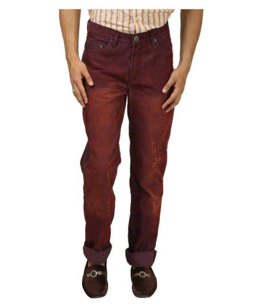 Koutons Outlaw Maroon Regular -Fit Pleated Chinos
