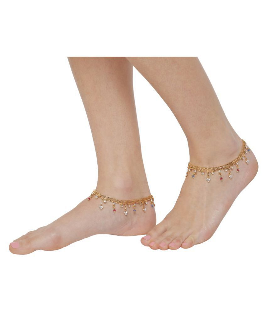 Gold Plated Broad Colorful Bollywood Pair of Indian Ethnic Anklets For Women By GoldNera