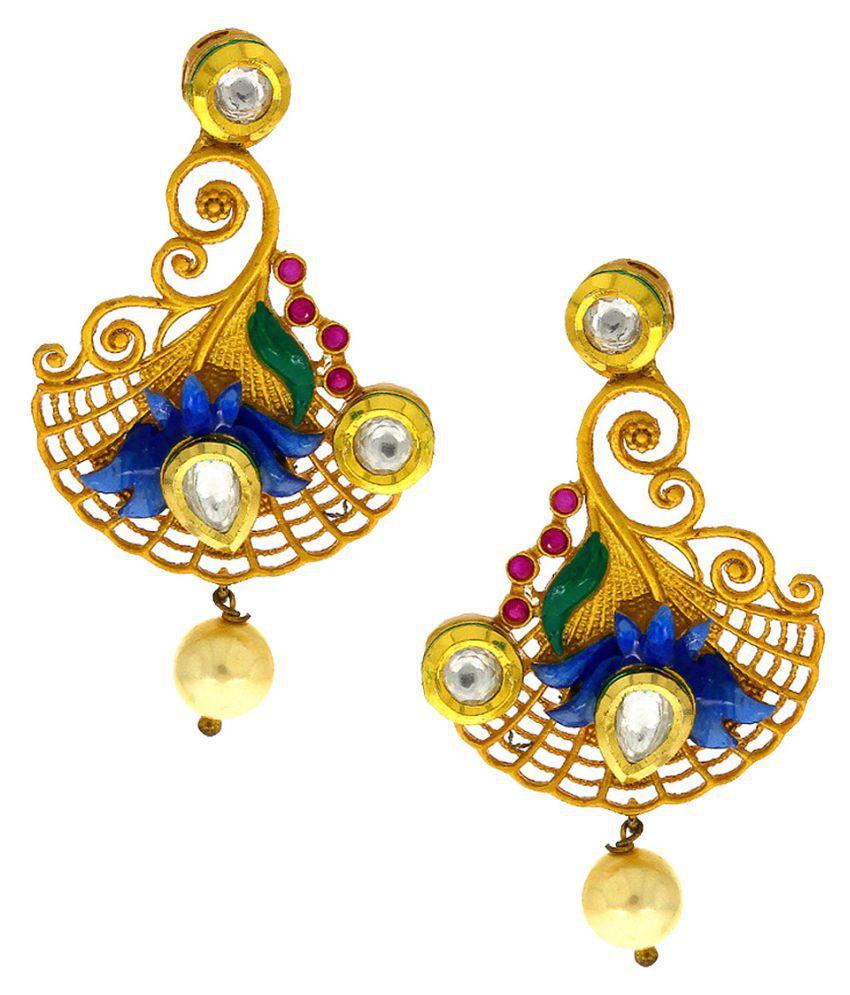 Anuradha Art Multi Colour Designer Studded Stone Long Earrings Traditional Earrings For Women/Girls