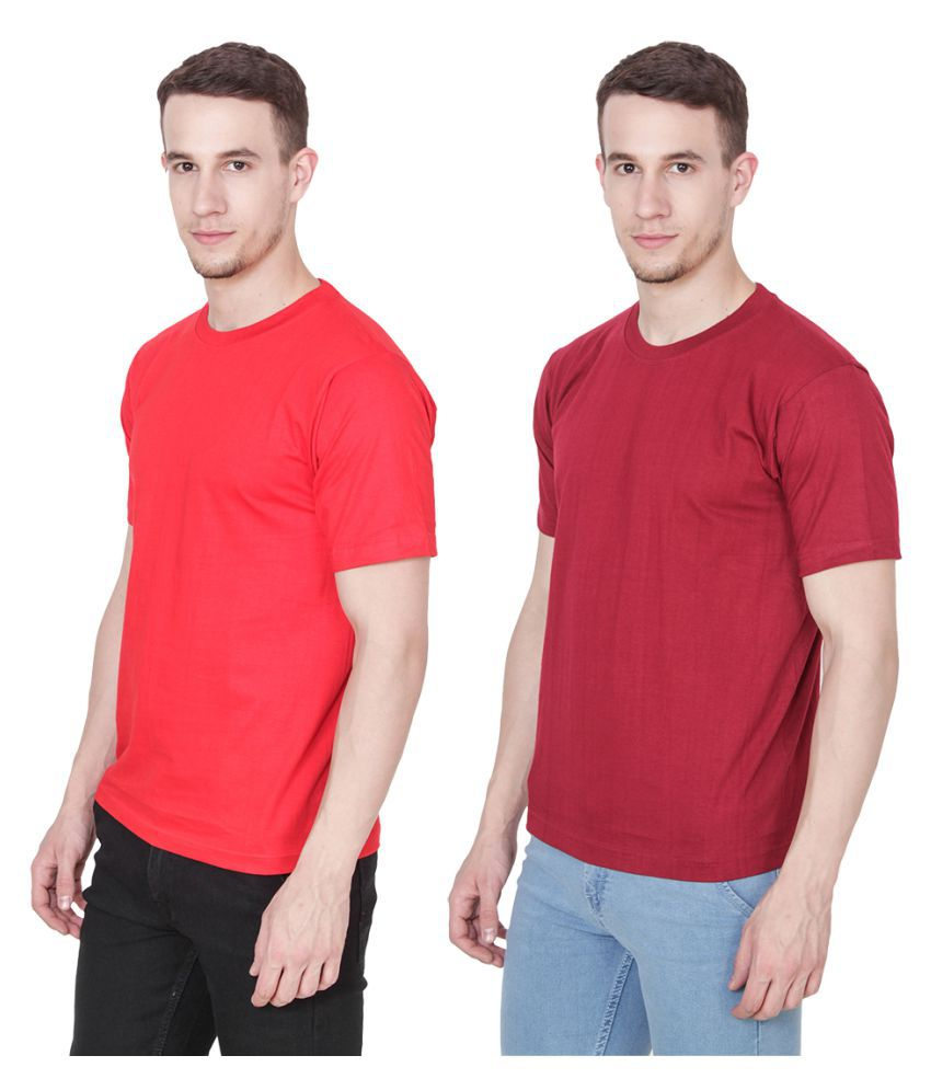 Ridge Vogue Red Round T-Shirt Pack of 2