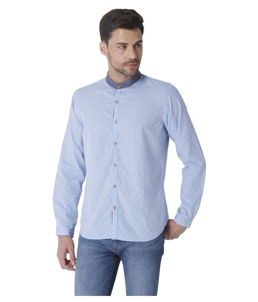 Urban Scottish Blue Casual Slim Fit Shirt