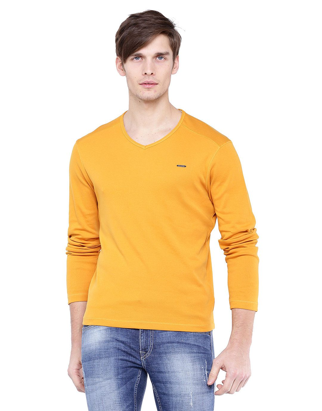 Flying Machine Yellow V-Neck T-Shirt