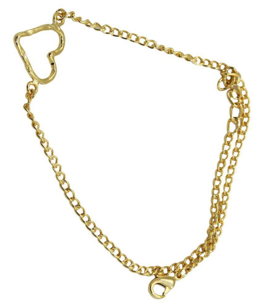 G-Vogue Fashion 24k Gold Plated Heart Charm Single Anklet For Girls & Women