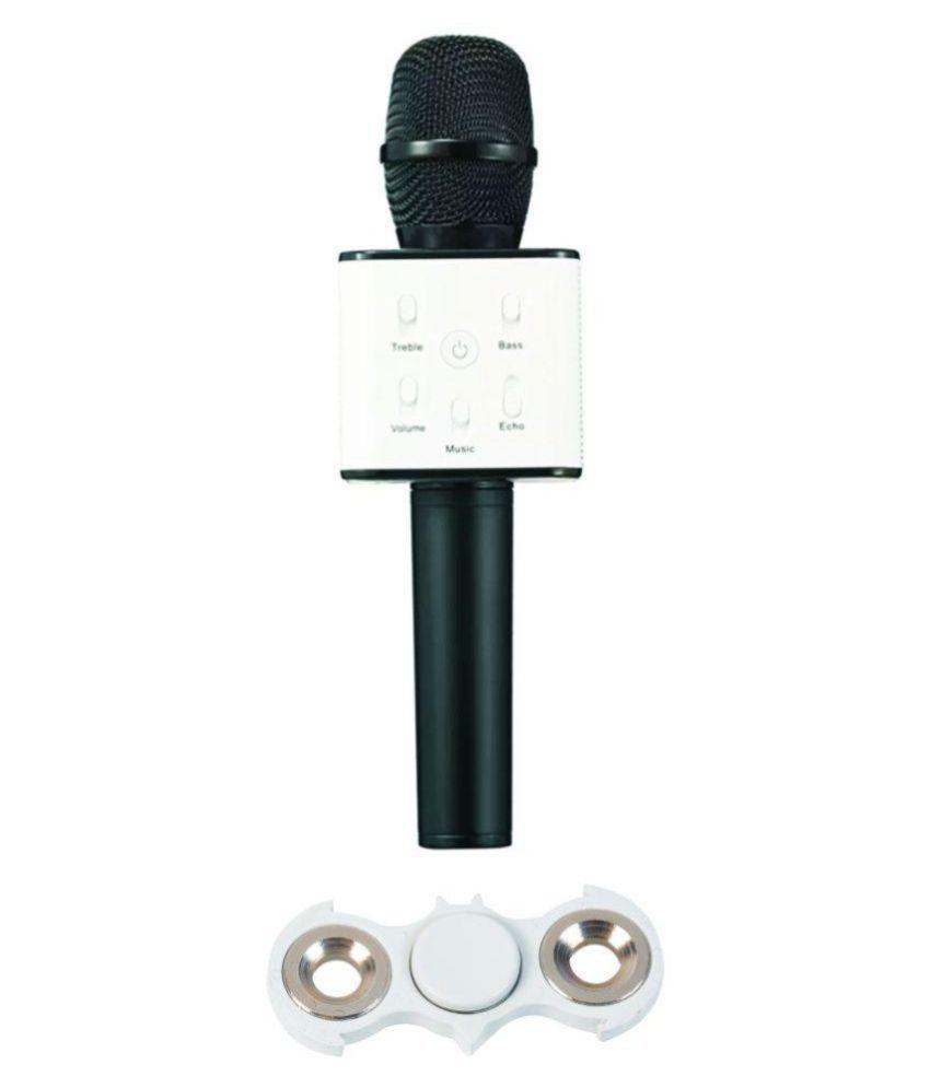Khurana White Batman Fidget Spinner With Portable Wireless Bluetooth Mic Karaoke Microphone Hifi Speaker Sing A Song Inbuilt