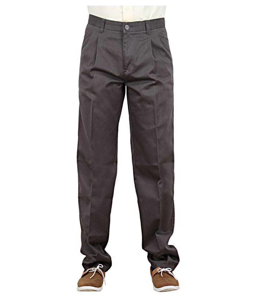 Maharaja Shirt Grey Regular -Fit Pleated Trousers