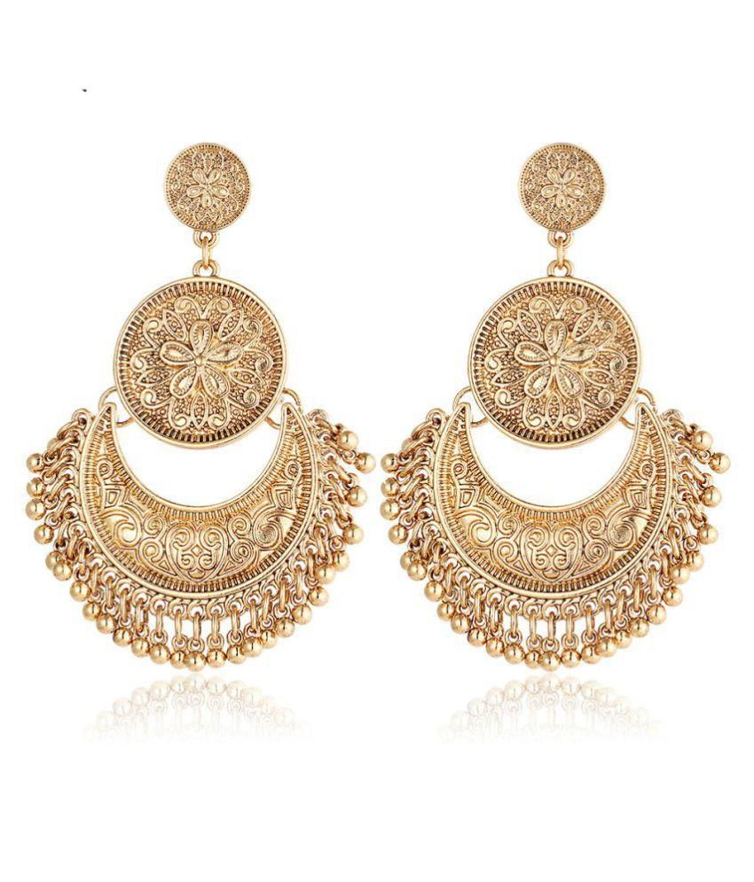 Dancing Girl Kundans Polki Golden Metal Alloy Dangler Drop Earrings for women