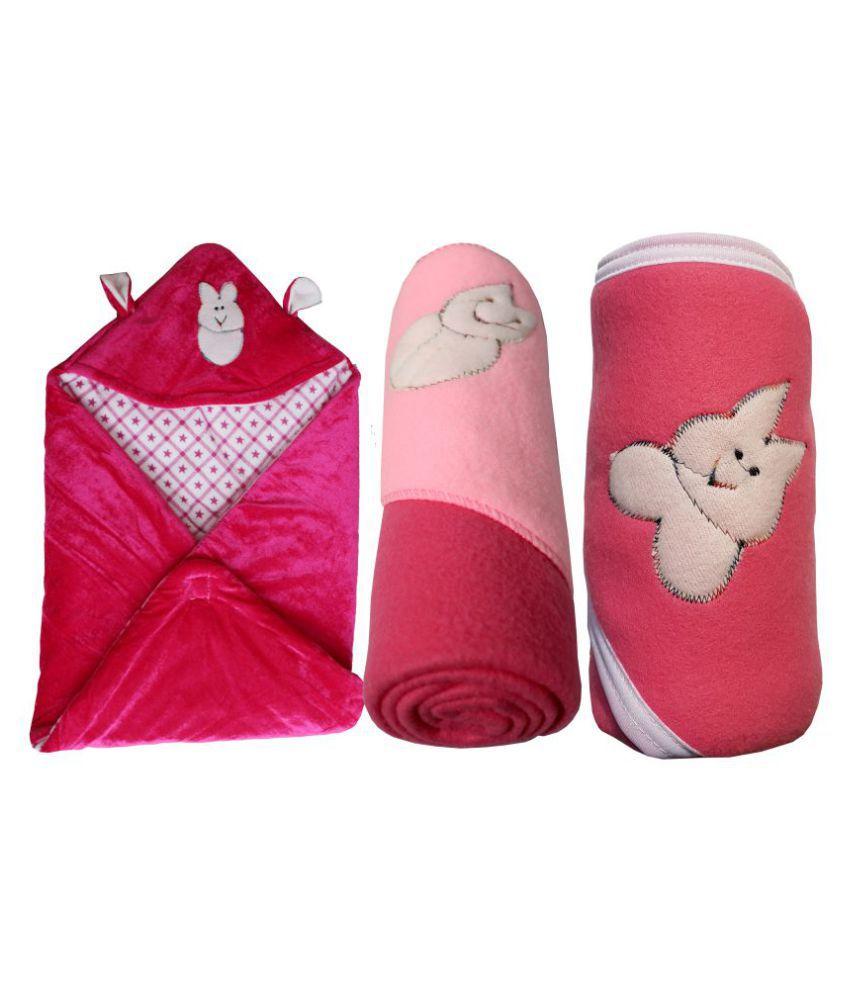 My NewBorn Pink Velvet Baby Wrap cum blanket ( 66 cm × 66 cm - 3 pcs)